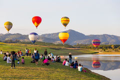 CHIANGRAI, THAILAND - NOV 29 2015 : Hot air balloon farm festiva Stock Image