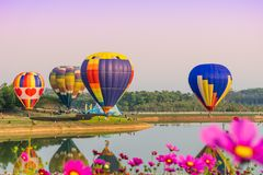 CHIANGRAI, THAILAND - November 02, 2016 : Hot air Balloons ready Royalty Free Stock Photography
