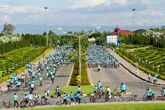Chianh mai,泰国- 2015年8月16日:准备的骑自行车者 免版税库存照片