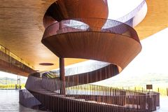 Chianti Region, Italy - April 20, 2018: The Antinori nel Chianti Classico winery. In the Chianti region, Tuscany, Italy. Spiral staircase on the open terrace stock photo