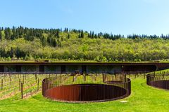 Chianti Region, Italy - April 20, 2018: The Antinori nel Chianti Classico winery. In the Chianti region, Tuscany, Italy. Vineyards in spring stock photo