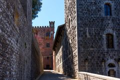 Chianti Region, Italy - April 21, 2018: Castello di Brolio, a rural castle, palace and gardens, near Siena, region of Tuscany,. Chianti Region, Italy - April 21 royalty free stock images
