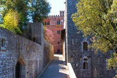 Chianti Region, Italy - April 21, 2018: Castello di Brolio, a rural castle, palace and gardens, near Siena, region of Tuscany,. Chianti Region, Italy - April 21 royalty free stock photography