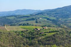 Chianti Region, Italy - April 20, 2018: The Castle of Verrazzano in Greve in Chianti, Italy. Chianti Region, Italy - April 20, 2018: Beautiful Tuscan landscape stock images