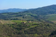 Chianti Region, Italy - April 20, 2018: The Castle of Verrazzano in Greve in Chianti, Italy. Chianti Region, Italy - April 20, 2018: Beautiful Tuscan landscape royalty free stock photo