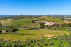 Chianti Region, Italy - April 21, 2018: Farmland rural landscape, cypress trees, vineyards and olive trees from Castello di Brolio. Chianti Region, Italy - April stock image