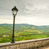 Chianti region, lamp and rural landscape. Radda, Tuscany, Italy Stock Images