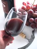 Chianti reserve red wine, glass, grapes. Tasting chianti italian reserve wine, with grapes, corkscrew and bottle background Royalty Free Stock Photo