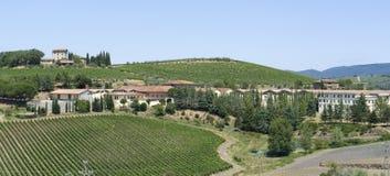 Chianti in Tuscany. Scenery around Gaiole near Castle of Brolio in the Chianti region of Tuscany in Central Italy stock photo