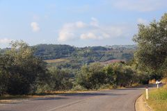 Chianti Valley Road, Tuscany, Italy. This is the road through the Chianti Valley, a hilly area between Florence and Siena, which is considered the Heart of royalty free stock photos