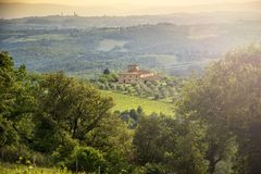 Chianti vineyards in Tuscany, Italy.Vineyards in Chianti with the Siena skyline in the background. Tuscany, Italy. The Chianti Hills also known as the Chianti stock photos