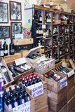 Chianti Wine Bottles In Sale. SIENA, ITALAY - MARCH 14, 2014: Chianti wine in sale in a wine shop. A Chianti wine is any wine produced in the Chianti region, in stock image