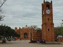 Chiapa de Corzo, Chiapas. In Chiapas exist a town called Chiapa de Corzo. They have a clock anda monument at downtown stock images