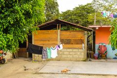 Achitecture of the Chiapas state, Mexico. CHIAPAS, MEXICO - NOV 2, 2016: Small house in One of the maya villages in Chiapas state of Mexico. Here live the real Royalty Free Stock Image