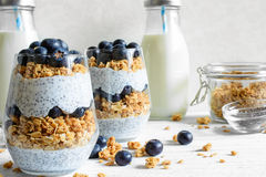 Chiapudding of yoghurtparfait met bosbessen, granola en chiazaden stock foto