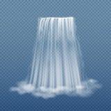 Chiara corrente dell'acqua della cascata sull'illustrazione trasparente di vettore del fondo Immagini Stock Libere da Diritti