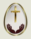 Chiara dell'uovo di Pasqua con un confine dell'oro Fotografia Stock