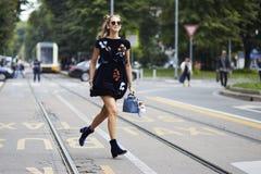 Chiara Ferragni tijdens Milan Fashion Week Royalty-vrije Stock Foto