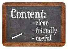 Chiaro, contenuto amichevole ed utile sulla lavagna Fotografia Stock Libera da Diritti
