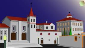 Chiaro di luna al quadrato della chiesa Immagini Stock Libere da Diritti