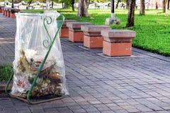 Chiaro di plastica al sentiero per pedoni, recipiente, rifiuti dell'immondizia, sacchetti dello spreco della borsa di rifiuti di  Fotografia Stock Libera da Diritti