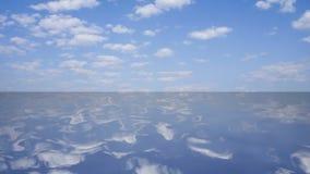 Chiaro lago con la riflessione del cielo con le nuvole, rappresentazione 3D Fotografia Stock