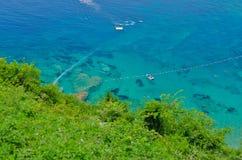 Chiaro mare, vista superiore, spiaggia di Mogren fotografia stock