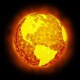 Chiarore caldo della terra del globo isolato Fotografia Stock Libera da Diritti