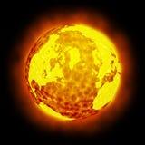 Chiarore caldo della terra del globo isolato Immagini Stock