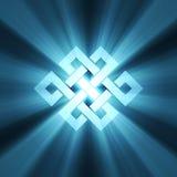 Chiarore chiaro blu del nodo infinito Fotografia Stock