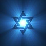 Chiarore chiaro blu della stella di Davide Fotografia Stock Libera da Diritti