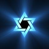 Chiarore chiaro blu della stella di Davide Fotografie Stock Libere da Diritti