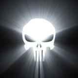Chiarore dell'indicatore luminoso bianco di simbolo del cranio Fotografie Stock