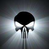 Chiarore dell'indicatore luminoso bianco di simbolo del cranio Fotografie Stock Libere da Diritti