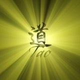 Chiarore dell'indicatore luminoso del sole del carattere del Tao Immagine Stock