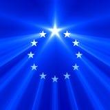 Chiarore della luce della stella dell'Unione Europea Fotografie Stock Libere da Diritti