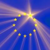 Chiarore della luce della stella dell'Unione Europea Fotografia Stock Libera da Diritti