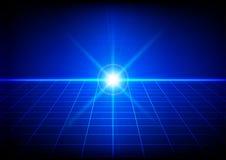 Chiarore luminoso astratto con la prospettiva di griglia su fondo blu Fotografie Stock