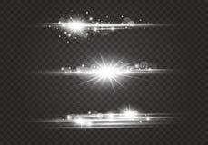 Chiarori della lente ed effetti della luce su fondo trasparente illustrazione vettoriale