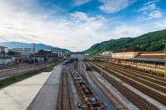 Chiasso kanton Ticino, Schweiz Sikt av den enda järnväg klassifikationsgården eller bangården av Schweiz Royaltyfria Bilder