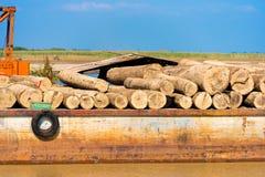 Chiatta sul fiume di Irrawaddy, Bagan, Myanmar, Birmania del carico Primo piano immagini stock