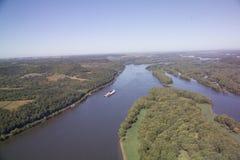 Chiatta sul fiume Mississippi - Illinois Fotografia Stock Libera da Diritti