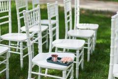 Chiavari-Stühle auf Gras Lizenzfreie Stockfotografie