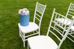Chiavari-Stühle auf Gras Stockbild