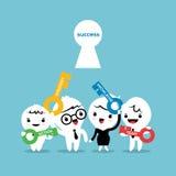 Chiave all'illustrazione del fumetto di concetto di affari di successo Immagini Stock Libere da Diritti