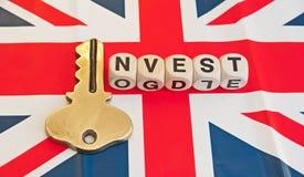 Chiave all'investimento in Gran-Bretagna fotografie stock libere da diritti