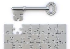 Chiave con il puzzle illustrazione di stock