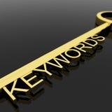 Chiave con il testo di parole chiavi come simbolo per SEO Or Optimization Immagine Stock Libera da Diritti