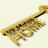 Chiave con testo domestico benvenuto come simbolo per la proprietà e la proprietà Fotografie Stock Libere da Diritti