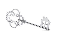 Chiave d'argento antica della porta Immagine Stock